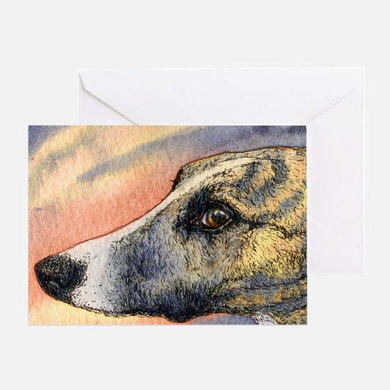 Brindle whippet greyhound dog Greeting Card