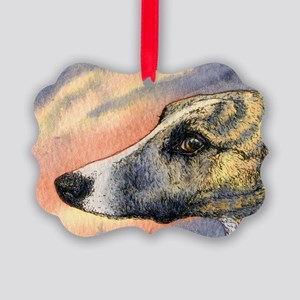 Brindle whippet greyhound dog Picture Ornament