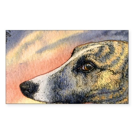 Brindle whippet greyhound dog Sticker (Rectangle)