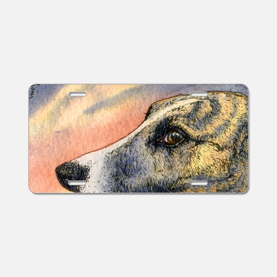 Brindle whippet greyhound d Aluminum License Plate