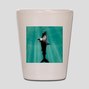 Megalodon prehistoric shark with human Shot Glass