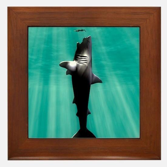 Megalodon prehistoric shark with human Framed Tile