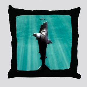Megalodon prehistoric shark with huma Throw Pillow