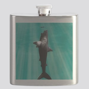 Megalodon prehistoric shark with human Flask