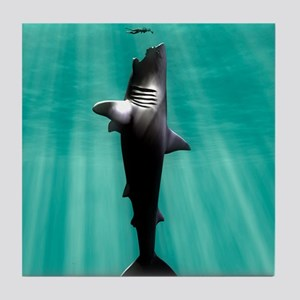 Megalodon prehistoric shark with huma Tile Coaster