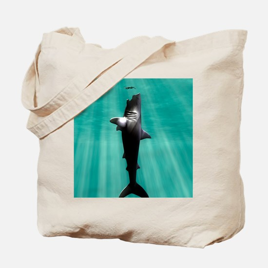 Megalodon prehistoric shark with human Tote Bag
