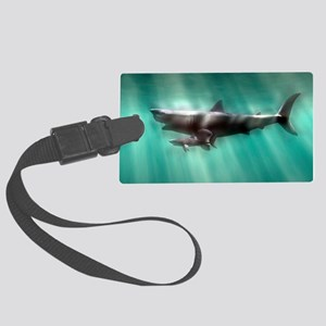 Megalodon shark and great white Large Luggage Tag