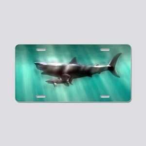 Megalodon shark and great w Aluminum License Plate