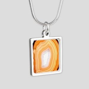 Agate slice Silver Square Necklace