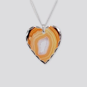 Agate slice Necklace Heart Charm