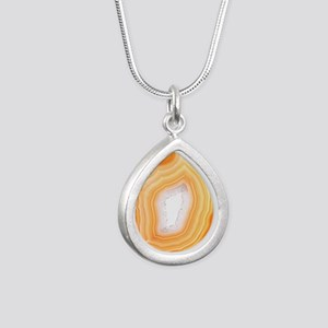 Agate slice Silver Teardrop Necklace