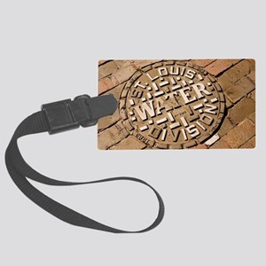 Manhole cover in St Louis Large Luggage Tag