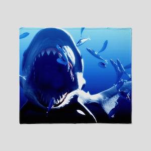 Megalodon prehistoric shark Throw Blanket