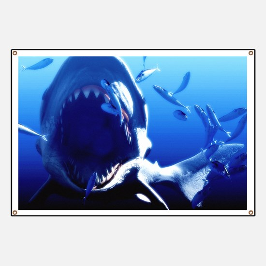 Megalodon prehistoric shark Banner