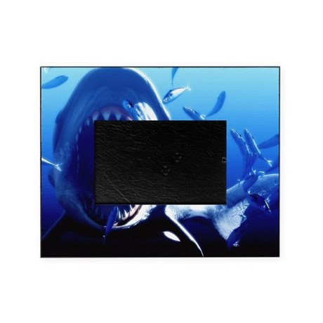 Megalodon prehistoric shark Picture Frame by Admin_CP66866535