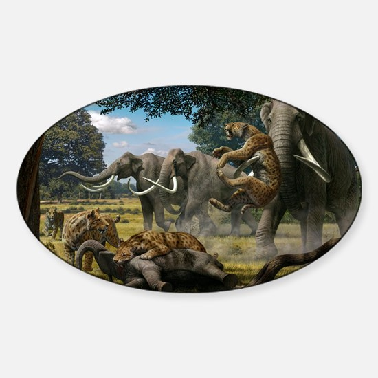 Mammoths and sabre-tooth cats, artw Sticker (Oval)