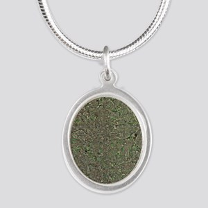 Manchester, UK, aerial image Silver Oval Necklace