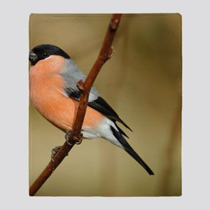 Male Bullfinch Throw Blanket