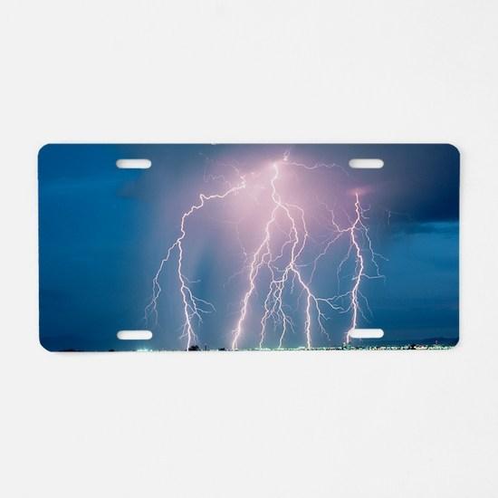 Lightning storm over Tucson Aluminum License Plate