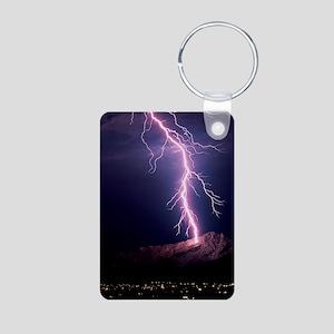 Lightning over Tucson Aluminum Photo Keychain