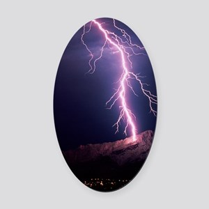 Lightning over Tucson Oval Car Magnet