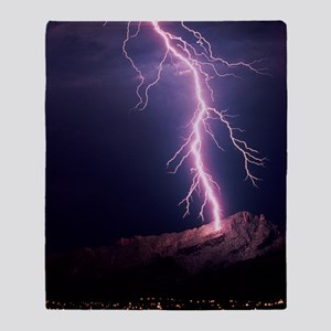Lightning over Tucson Throw Blanket
