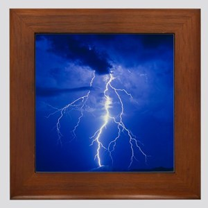 Lightning in Arizona Framed Tile