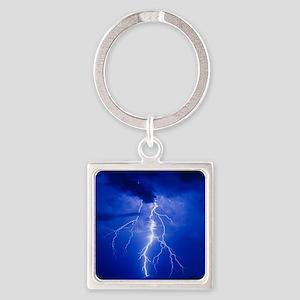 Lightning in Arizona Square Keychain