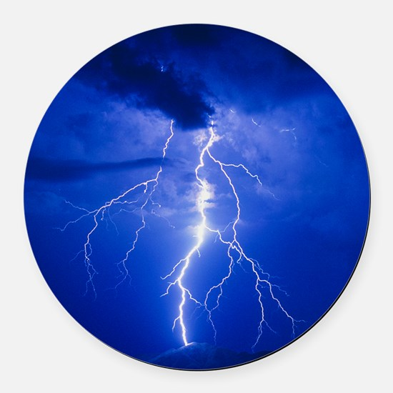 Lightning in Arizona Round Car Magnet