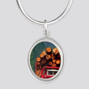 Logging truck loaded with log Silver Oval Necklace