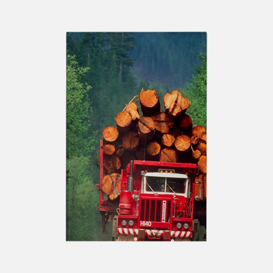 Logging truck loaded with logs Rectangle Magnet