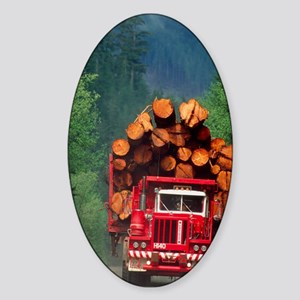 Logging truck loaded with logs Sticker (Oval)