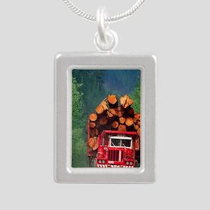 Logging truck loaded wit Silver Portrait Necklace