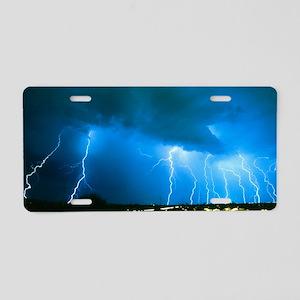 Lightning strikes at night  Aluminum License Plate