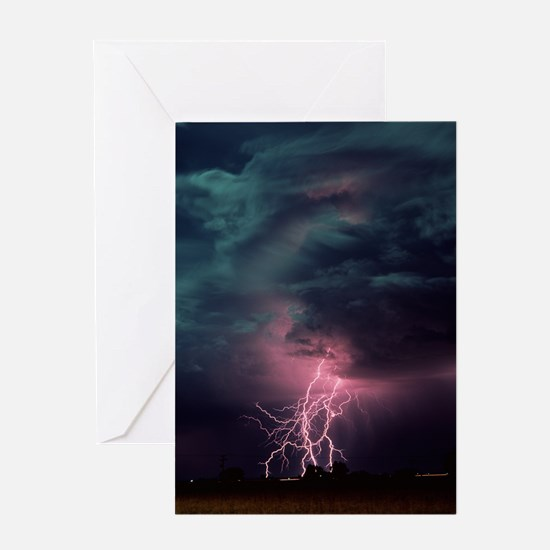 Lightning over Sterling, Colorado Greeting Card