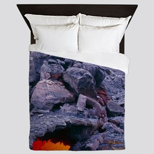 Lava tube, Kilauea volcano, Hawaii Queen Duvet
