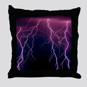 Lightning in Rincon Mountains, Tucson Throw Pillow