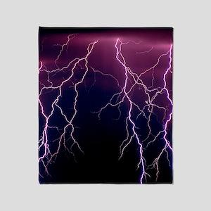 Lightning in Rincon Mountains, Tucso Throw Blanket