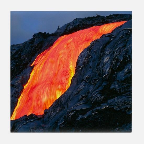 Lava flow from Kilauea volcano Tile Coaster