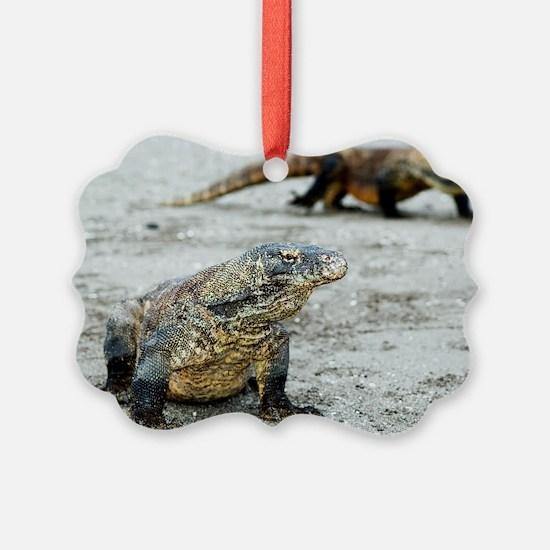 Komodo dragons on a beach Ornament