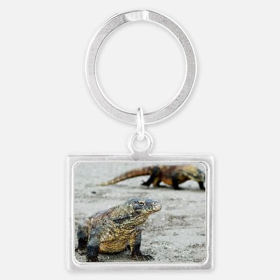 Komodo dragons on a beach Landscape Keychain