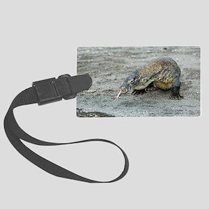 Komodo dragon on a beach Large Luggage Tag