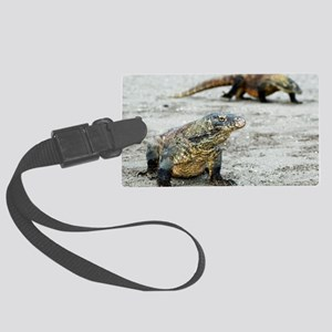 Komodo dragons on a beach Large Luggage Tag