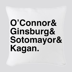 Female Justices 2 Woven Throw Pillow