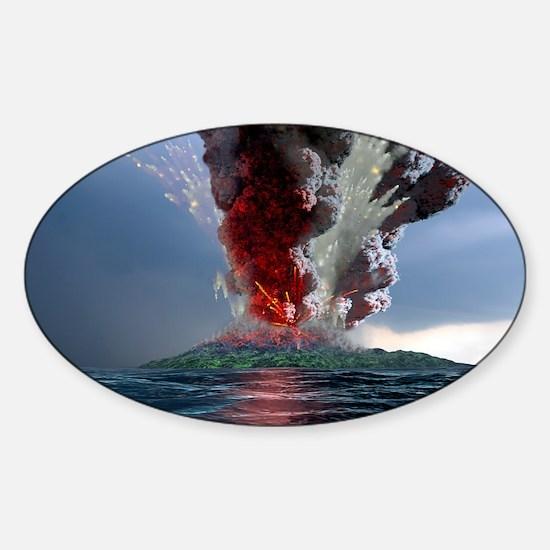 Krakatau volcano explosion, artwork Sticker (Oval)
