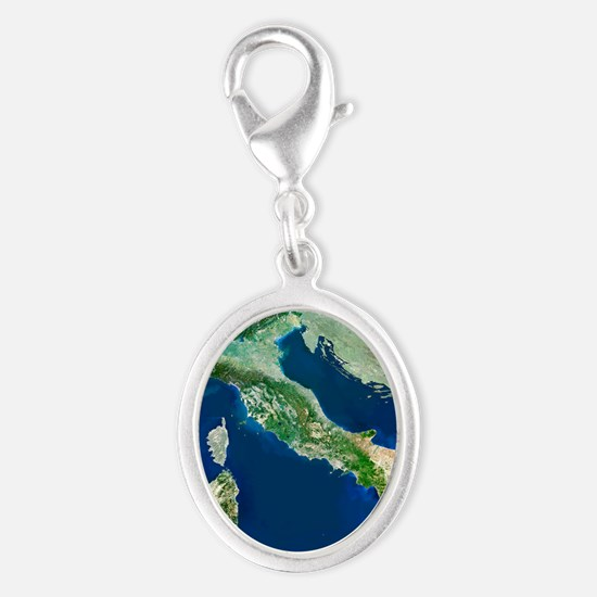 Italy, satellite image Silver Oval Charm