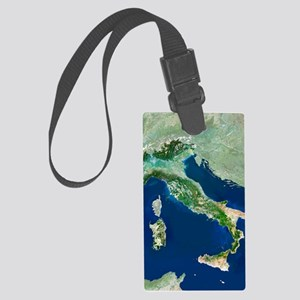 Italy, satellite image Large Luggage Tag