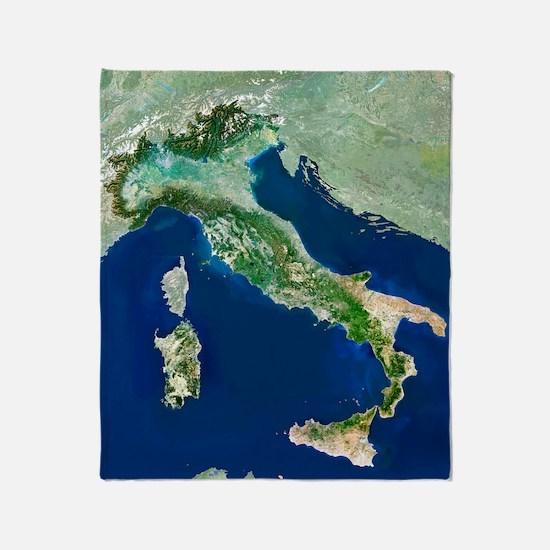 Italy, satellite image Throw Blanket