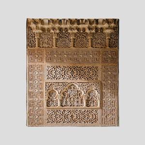 Islamic carvings, Alhambra, Spain Throw Blanket