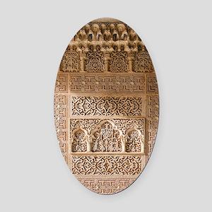 Islamic carvings, Alhambra, Spain Oval Car Magnet